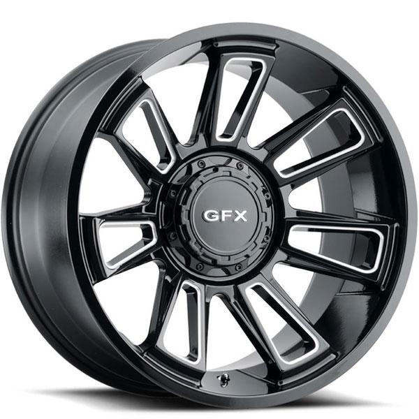 G-FX TR21 Gloss Black with Milled Spokes 8 Lug