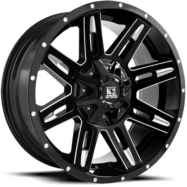 K2 OffRoad K03 Dome Gloss Black Milled