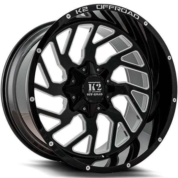 K2 OffRoad K12 Shockwave Gloss Black with Milled Spokes