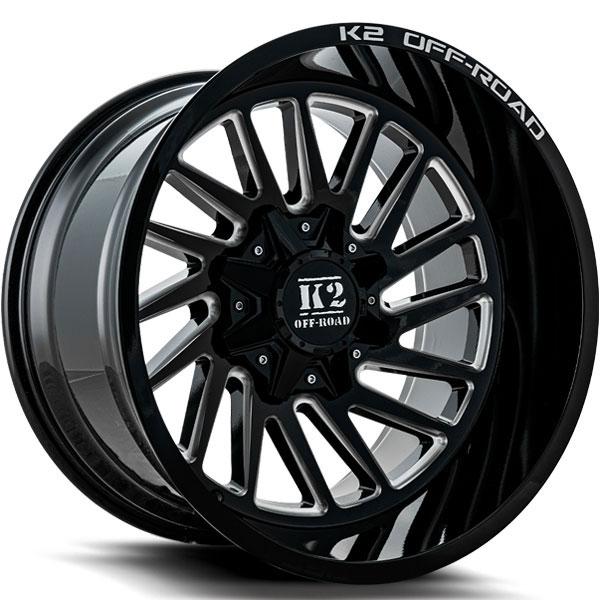 K2 OffRoad K17 Razorback Gloss Black with Milled Spokes