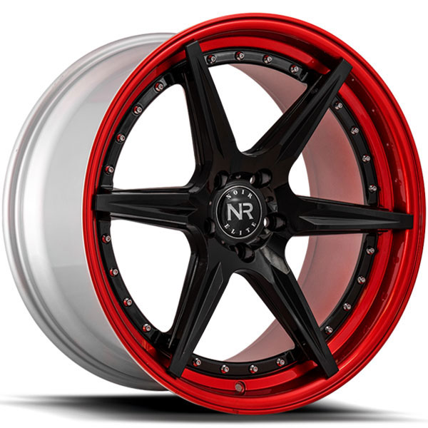 Noir Elite NR104 Gloss Black with Red Lip and Chrome Rivets