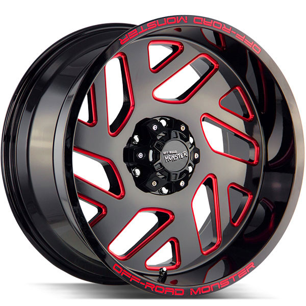 Off-Road Monster M19 Gloss Black Milled with Red Edges
