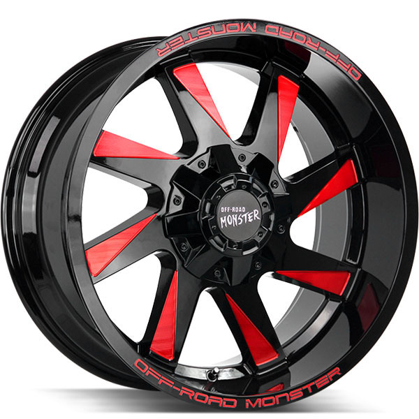 Off-Road Monster M80 Gloss Black with Candy Red Milled Edges