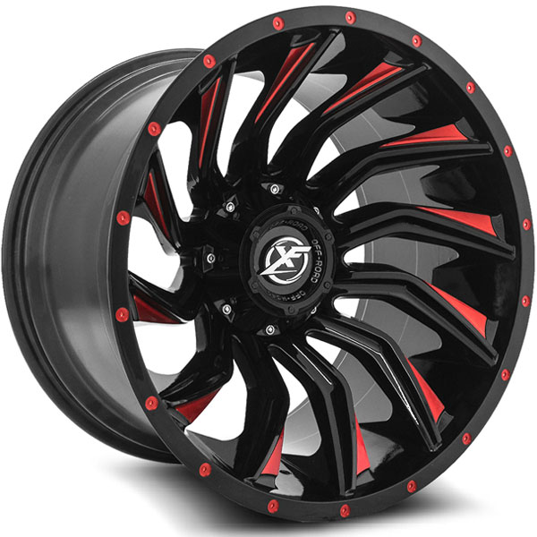 XF Off-Road XF-224 Gloss Black with Red Spokes
